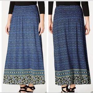 J.Jill Smocked Waist Floral Print Maxi Skirt
